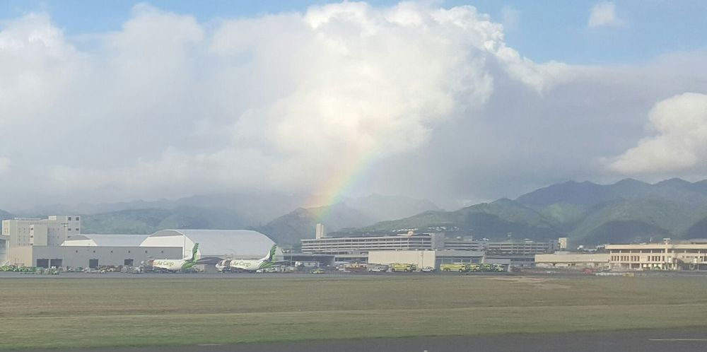 Hello World Aloha Airport Rainbow