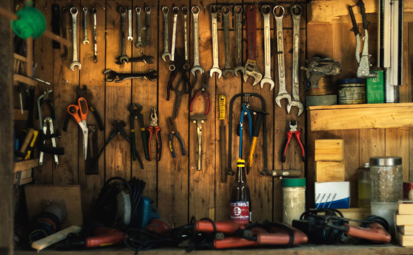 Bicycle Shop Choice Hanging Indoors  Large Group Of Objects No People Pliers Screwdriver Shop Spanner Variation Wall Wall - Building Feature Work Tool Workshop Wrench