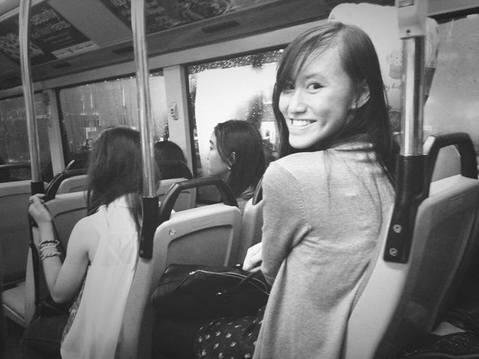 Taken by a stranger on a bus. Never hurts to turn back at someone and just give them a smile!