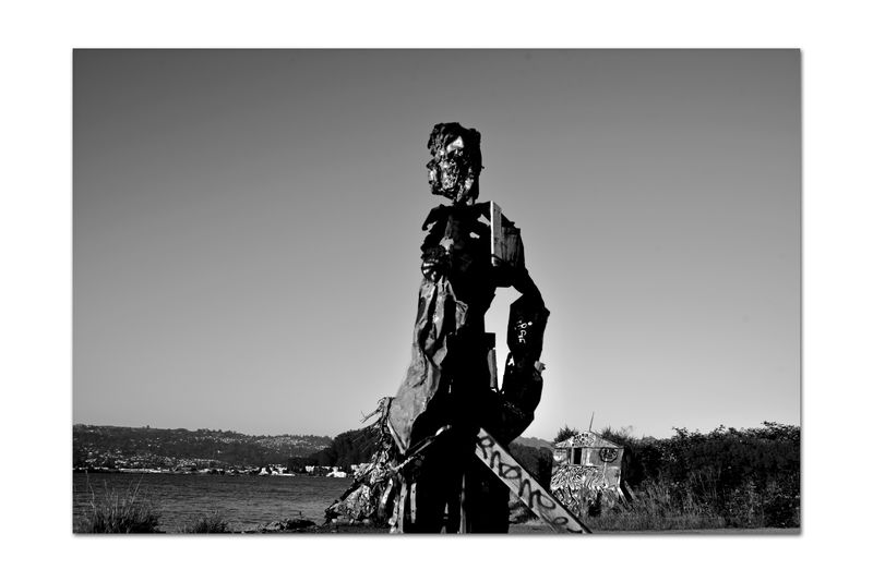 The Albany Bulb 17 Albany, Ca. Waterfront Peninsula Eastern Shore San Francisco Bay The Bulb Former Landfill Closed 1987 Dump For Contruction Materials Recycle Art Became A Home For Urban Artists Outsider's Art Sculptures, Murals, Graffiti, Installation Art An Anarchical No Man's Land Bum's Paradise Monochrome_Photography Monochrome Black & White Black & White Photography Black And White Black And White Collection  Humanoid Sculpture Made Of Waste Silhouette Abstract