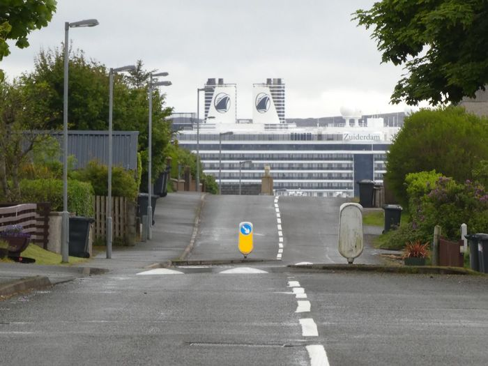 Cruise liner in Stornoway Visit Scotland Stornoway Cruise Ship Outer Hebrides Scotland Architecture Tree Building Exterior City Plant Built Structure Day Street Nature Road Symbol Sky Lifestyles Transportation Outdoors Road Marking