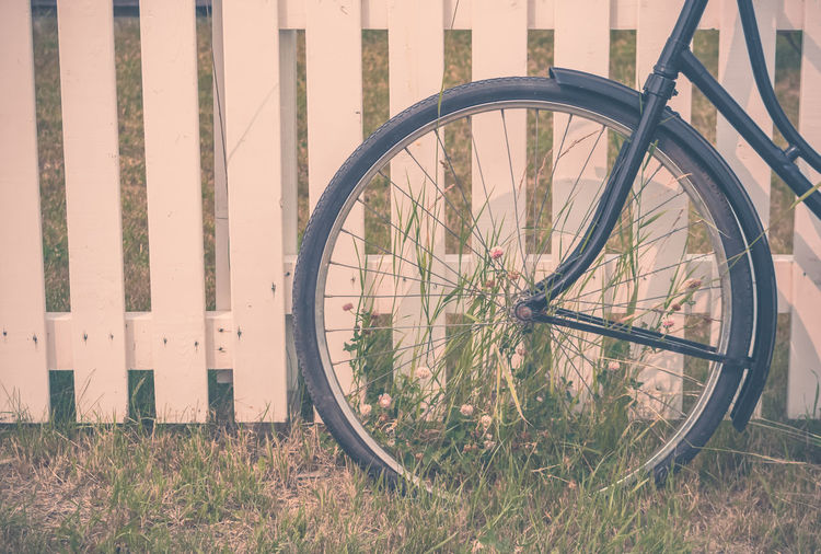 Close-up of bicycle wheel on grass