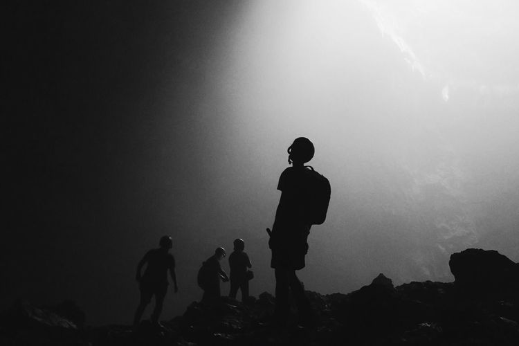 At world's end Asian  ASIA INDONESIA Yogyakarta Jogja Blackandwhite Photography Blackandwhite Cave Landscape Silhouette Real People Standing Nature Outdoors Togetherness Men