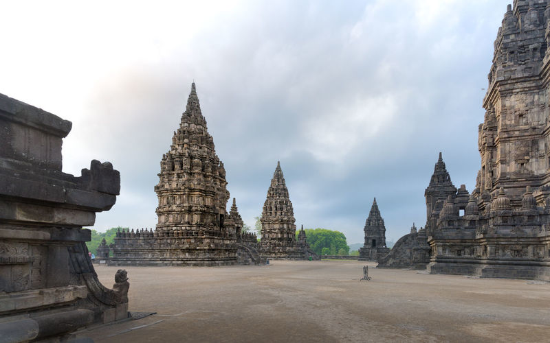 Panoramic view of old temple building against sky