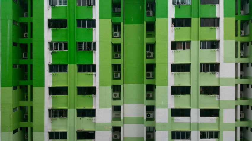 Architecture Building Exterior Green Color Apartment Vibrant Color Man Windows HDB HDB Flats Residential Building Tearing Down Street Photography Streetphotography Streetphoto_color Street Life Samsung Galaxy Note 4 Colors And Patterns