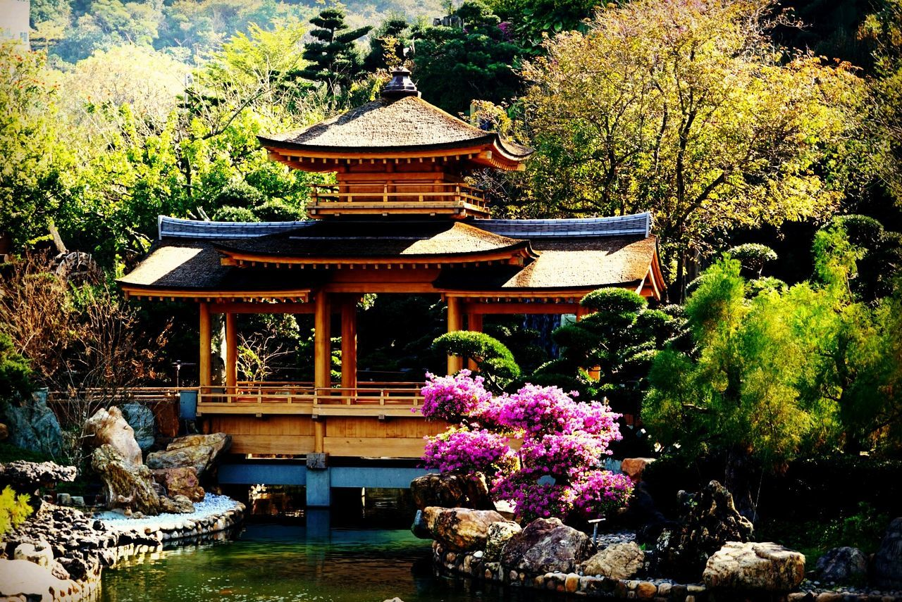 pond, rock - object, water, architecture, tree, flower, nature, day, place of worship, plant, outdoors, religion, spirituality, built structure, beauty in nature, travel destinations, no people, shrine, growth, building exterior