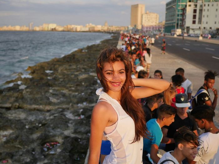 Hanging out at sunset on the Malecon in Havana, Cuba. Let Your Hair Down Check This Out Malecon Cuba Collection Havana Today's Youth Sunset Beauty Happiness Happy People Ocean
