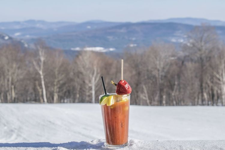 Bloody Mary on North Peak Bloodymary Mountain Mountain View Maine EyeEm Selects Cold Temperature Food And Drink Drink Freshness Fruit Drinking Glass Indulgence Red Ice Frozen Winter Snow Refreshment Focus On Foreground No People