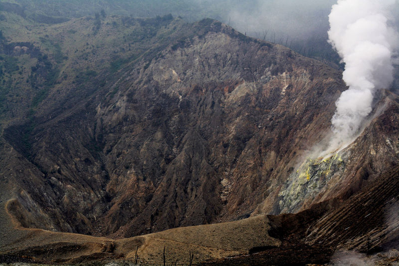 Mount Papandayan Crater Beauty In Nature Geology Landscape Mount Papandayan Mountain Mountain Range Nature Outdoors Scenics Smoke - Physical Structure Volcanic Crater Volcanic Landscape Volcano