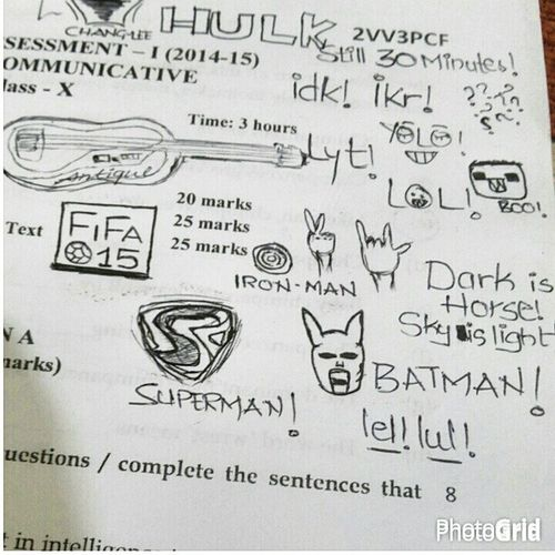 Exam hall fun.... A kind of timepass Allhamdulillah Itwasgood Itwasntlenghty Ifinished30minutesearly batman thatsupermanlogotho ironman marvels guitar darkishorseskyislightandiamnotgoodatpoetry lol idk ikr boo! lyt yolo timepass