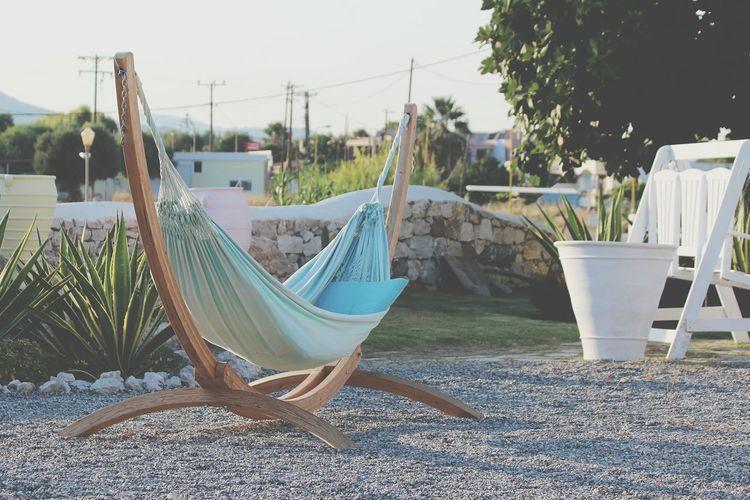 Blue hammock on field