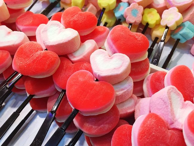 Sweet Food Food And Drink Unhealthy Eating Food Indulgence Candy For Sale No People Variation Large Group Of Objects Temptation High Angle View Retail  Choice Indoors  Dessert Pink Color Ready-to-eat Freshness Multi Colored Valentine's Day
