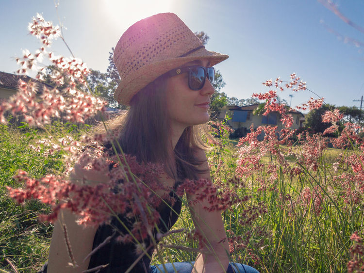 Beauty in the morning. Adult One Woman Only Nature People Plant Outdoors Growth Sky Flower Beautiful Woman One Person Beauty Day Close-up Morning EyeEmNewHere The Week On EyeEm Flare Sunlight Model Pose Clear Sky