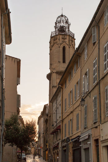 A narrow street at the Old city, Aix-en-Provence Architecture Building Exterior Building Story Built Structure City City Life Day Dome Exterior Façade Historic History No People Old Town Outdoors Sky Spire