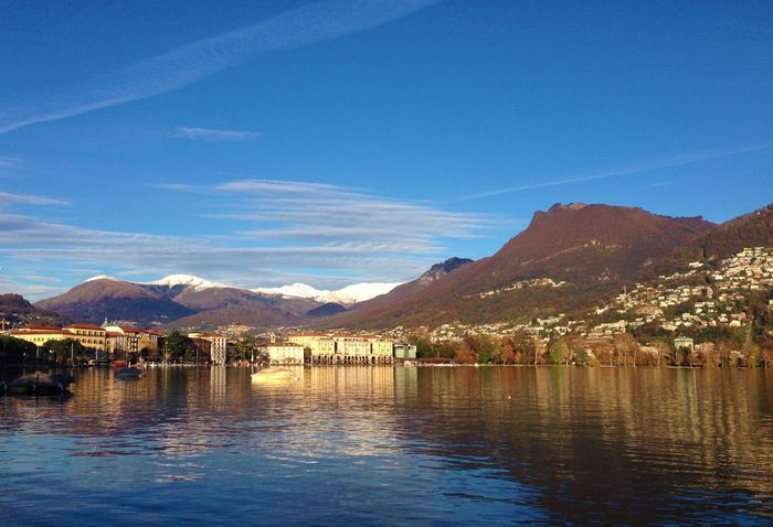 Lugano Blue Sky Lake Switzerland Autumn Snow Ticino