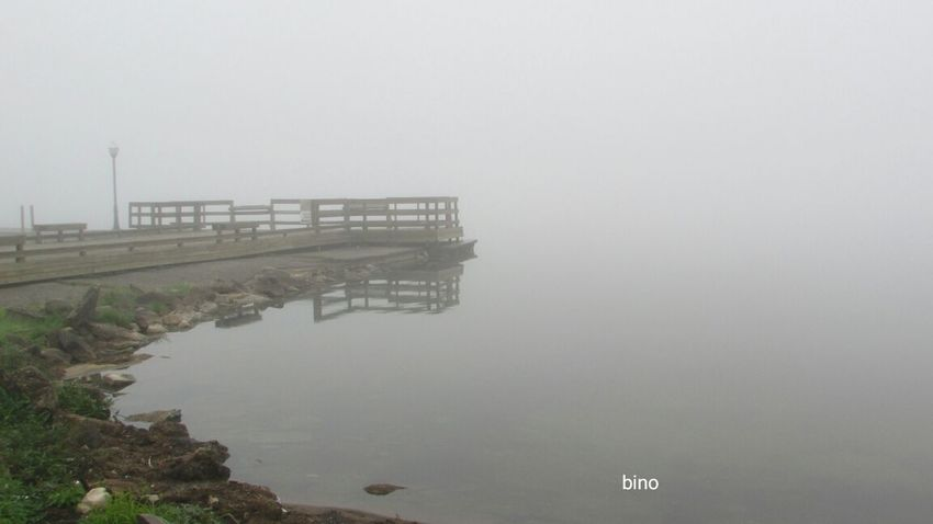 Foggy Morning Around The Lake Eerily Beautiful From The Pier Water Reflections Alone... Lake Cadillac Pure Michigan
