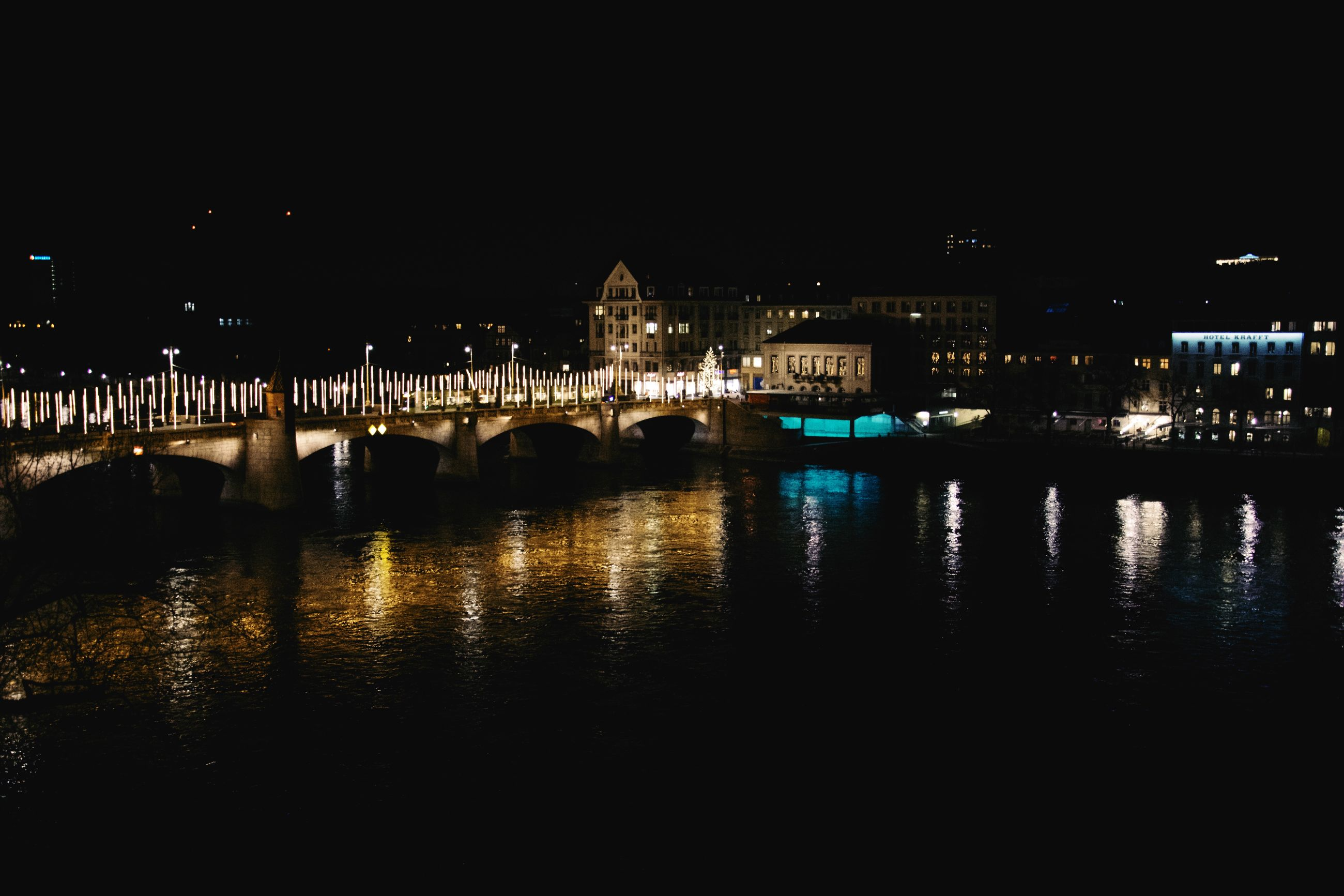architecture, night, built structure, water, illuminated, reflection, building exterior, city, river, bridge, connection, waterfront, sky, no people, bridge - man made structure, copy space, nature, building, transportation, cityscape, outdoors, arch bridge