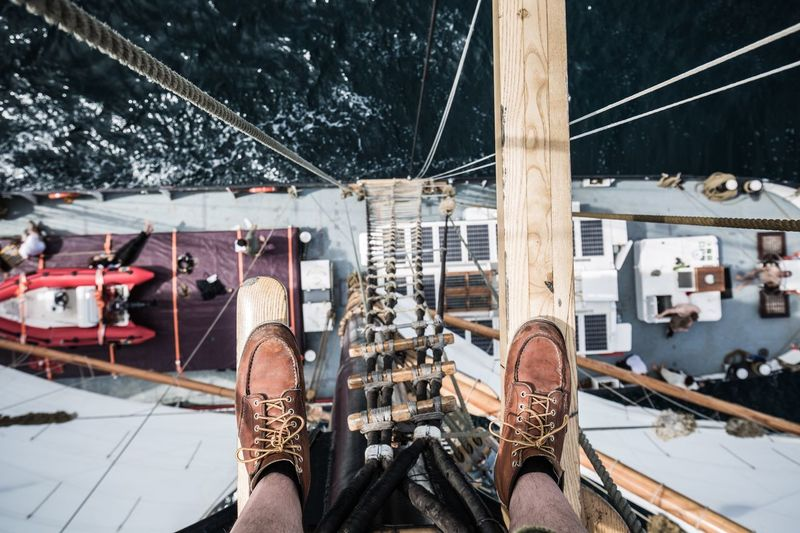 Sailing cargo ship AVONTUUR EyeEmNewHere Atlantic Ocean RedWingShoes Sustainable Sustainability Sailing Cargo Under Sail Clean Transport Sailing Ship Transportation Nautical Vessel Water Mode Of Transportation Real People Low Section Nature Lifestyles Shoe Sea