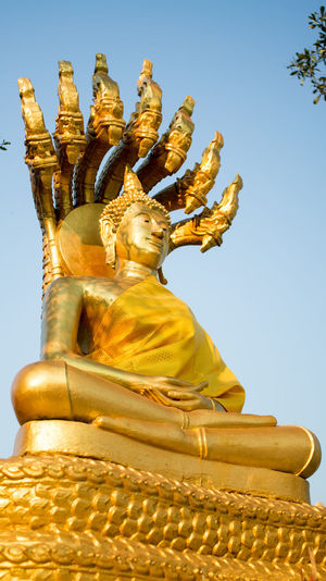 City Clear Sky Cultures Day Gold Gold Colored Idol Large No People Outdoors Place Of Worship Religion Spirituality Statue