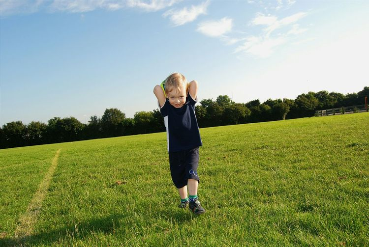 Boy Playing Happiness Smile :) Sky And Clouds Trees Green Grass Sunny Day Taking Photos