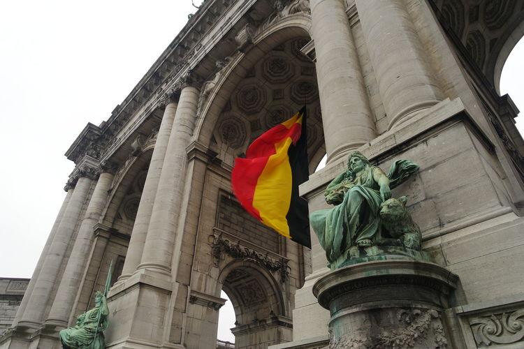 Architecture Belgium Brussels Built Structure Flag Statue Tourism Trip Vacations Travel Travel Destinations Outdoors