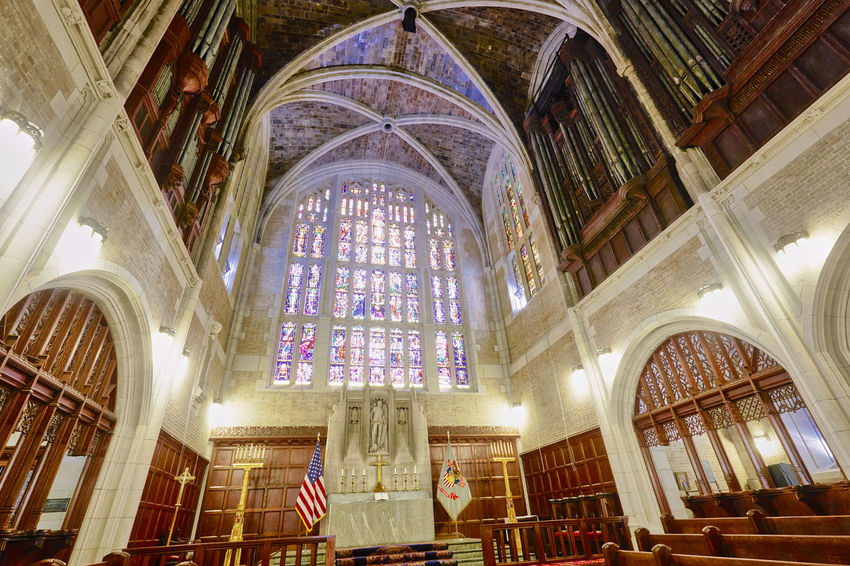 Cadet Chapel at USMA Architecture Cathedral Chapel Arch Arch Angels Architectural Column Architecture Architecture And Art Belief Building Built Structure Ceiling Christ Glass Indoors  Low Angle View No People Pew Place Of Worship Religion Spirituality Stained Glass Window