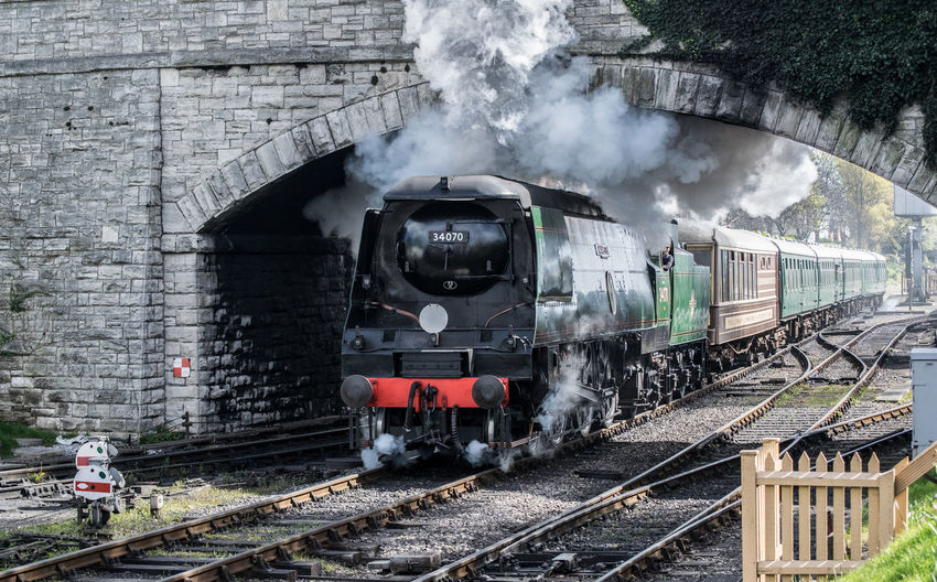 '34070' Manston, Seen Steaming Out Of Swanage Station On A Sunny Monday. Day Locomotive Mode Of Transport No People Old-fashioned Outdoors Public Transportation Rail Transportation Railroad Track Shunting Yard Sky Smoke - Physical Structure Steam Steam Train Train - Vehicle Transportation