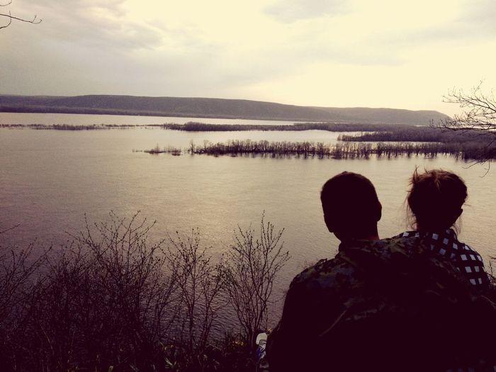 Volga River Couple Sundown