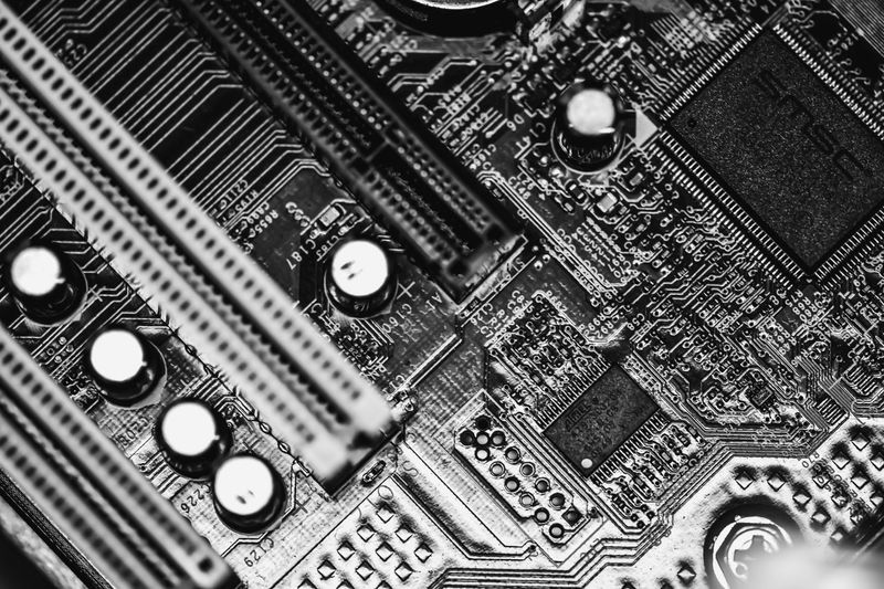 Black & White Black And White Black And White Photography Black&white Blackandwhite Blackandwhite Photography Circuit Board Close-up Complexity Computer Computer Chip Computer Equipment Computer Part Connection CPU Electric Electronics Industry High Angle View Indoors  Modern Monochrome Mother Board Motherboard No People Technology