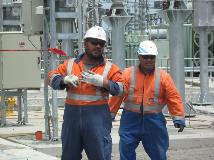 Team Tonga Electric Supply Grid Hard Work Pacific Islander Safety Strong Tough Young Men