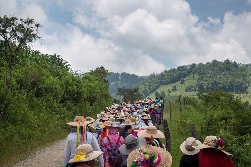 Women's pilgrimage to the Basilica of Guadalupe in Mexico City starts about 300 miles away in the mountains of the state of Queretaro. Sierra Gorda Queretana Querétaro Documentary Mexico Pilgrimage EyeEm Selects Cloud - Sky Sky Nature Real People Large Group Of People Lifestyles