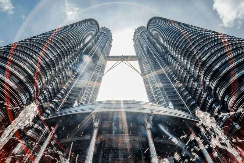 Low angle view of petronas tower against sky