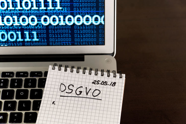 German General Data Protection Regulation DSGVO new law in 2018 - checklist, notepad on keyboard Business Desktop Security Binary Data Checklist Computer Data Data Protection Datenchutz Dsgvo Europe Gdpr Handwriting  High Angle View Information Internet Keyboard Laptop Law Legal Notepd Privacy Protection Regulator