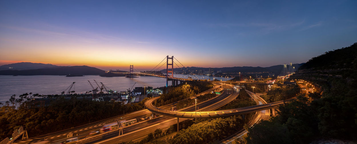 Panoramic view of bridge over sea against sky at sunset