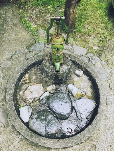 Water Faucet High Angle View No People Day Tap Outdoors Wash Bowl Tree Close-up