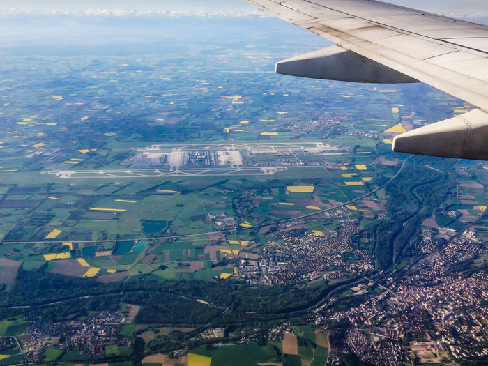 Aerial View Aeroplane Aircraft Wing Airport Architecture Cityscape Cropped Elevated View Erding Flughafen Flugzeug Flügel Freising Horizon Over Land Isar Mode Of Transport Mountain MUC Munich München Outdoors Residential District Scenics Sky TOWNSCAPE An Eye For Travel Mobility In Mega Cities