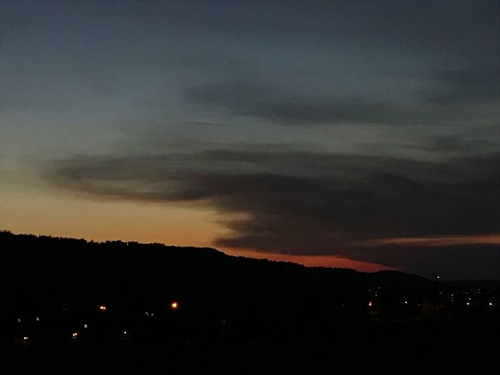 Sky Beauty In Nature Silhouette Nature Scenics Tranquil Scene Tranquility Cloud - Sky Night Sunset No People Outdoors Illuminated Mountain