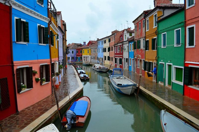 Burano, Italy Burano, Venice Architecture Building Exterior Built Structure Burano Burano Island Canal Cloud - Sky Day Mode Of Transport Moored Nautical Vessel No People Outdoors Reflection Residential Building Sky Transportation Water Window EyeEmNewHere
