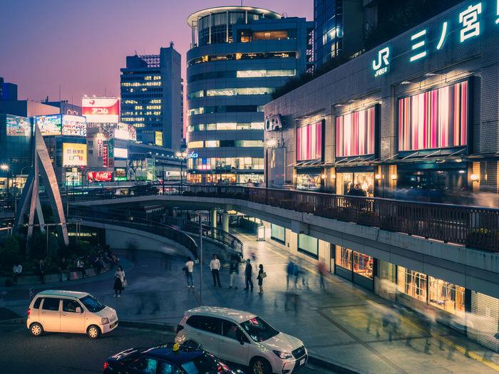"""Ghosts of JR Sannomiya"" Japan Japan Photography Architecture City City Life Dusk Illuminated Mode Of Transportation Street Streetphotography Traffic Transportation"