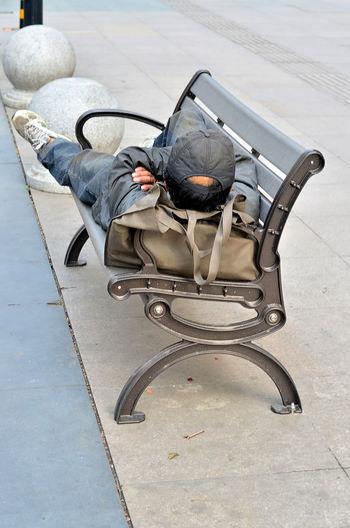 High angle view of man sleeping