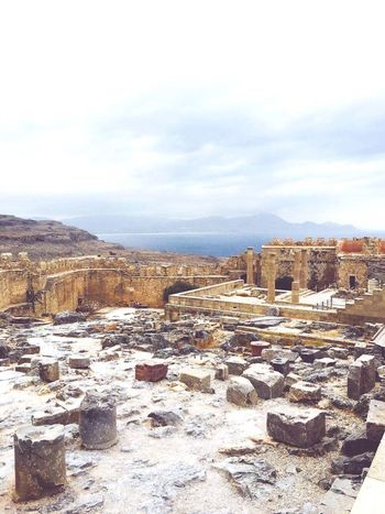 Greece Rhodos Lindos Castle Akropolis Day Nature Sky Outdoors No People History Tranquility Tranquil Scene Scenics Landscape Beauty In Nature Mountain Cultures Freedom Long Goodbye