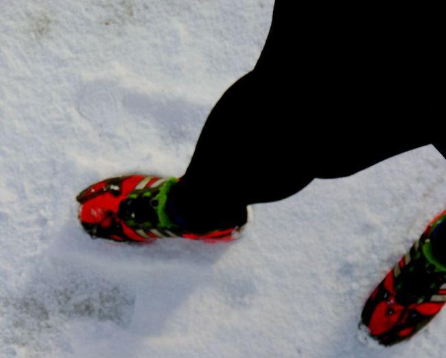 Run through the snow. Having Fun .