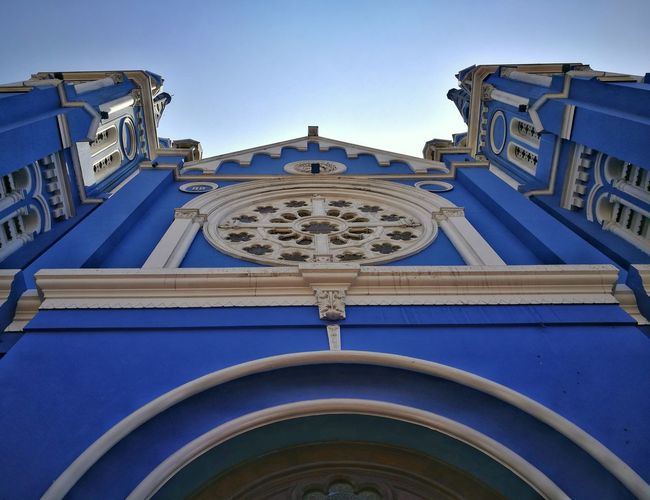Architecture Blue Clock Face City Archival Built Structure No People Building Exterior History Clear Sky Sky Outdoors Color Paint Lima-Perú Peruvian Color Photography Photography