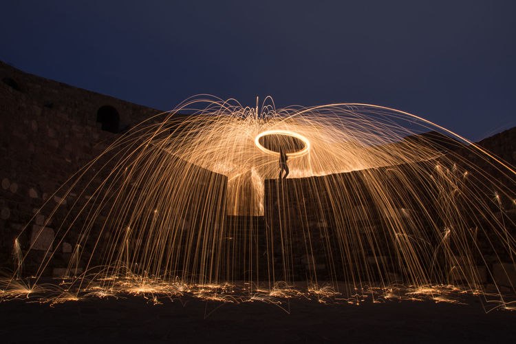 Low Angle View Of Wire Wool Against Sky At Night