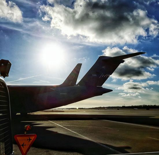 Airport Showcase: February Samsungphotography Göteborg, Sweden Airside Taking Photos C17 Airforce Clouds And Sky Sunlight Airplane Shot Airportphotography On The Ground Sky And Clouds Shadows & Lights Passing By Globemaster