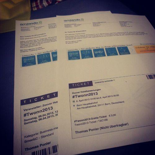 Meine Karten für das Twonn2013 und Bmeetsc am 06.04.13 in Bonn . :)