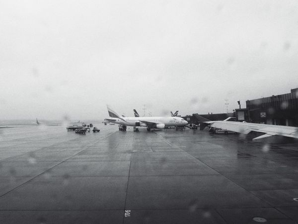 Airplane Air Vehicle Transportation Airport Airport Runway Runway Travel Sky Airplane Wing Rain Mood Transit Transfer Rainy Day Rainy Days Rainy RainyDay