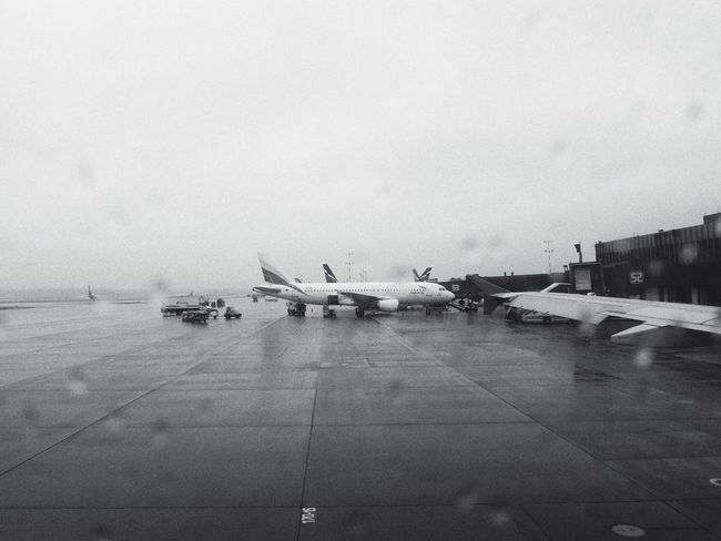 Airplane Air Vehicle Transportation Airport Airport Runway Runway Travel Sky Airplane Wing Rain Mood Transit Transfer Rainy Day Rainy Days Rainy RainyDay