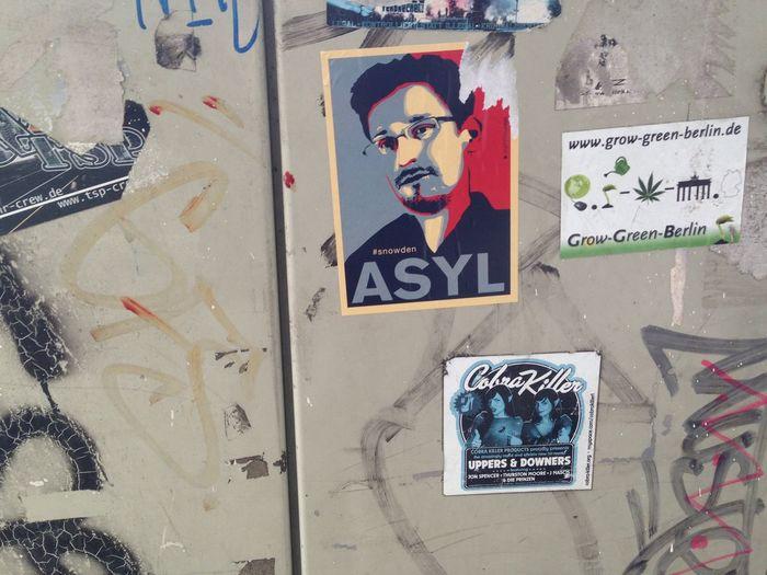 Asyl Close-up Distribution Box Distributor Box Edward Snowden Graffiti Smeared Stickers Text Verteilerkasten