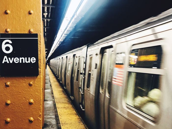 Way of the sub 6ave Six 6 Light Movement Flag New York NYC Public Transportation Rail Transportation Transportation Train Mode Of Transportation Train - Vehicle Subway Station Subway Train Subway Travel Indoors  Passenger Train Station